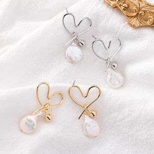 Freshwater Heart Gorgeous Dangling Studs